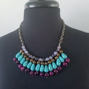 Jewelry - Boho tribal beaded faux turquoise bib necklace 20""